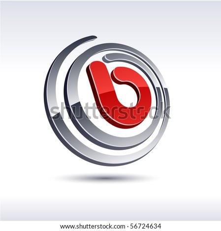 B 3d vector icon such logos. - stock vector