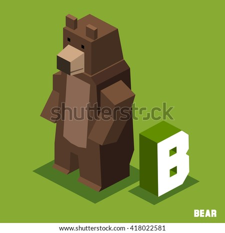 B for bear. Animal Alphabet collection. vector illustration - stock vector