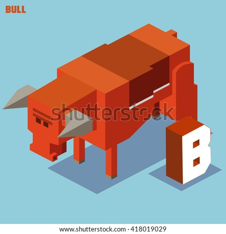 B for Bull, Animal Alphabet collection. vector illustration - stock vector