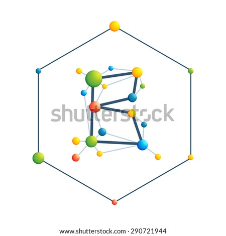 B Letter Abstract Colorful Molecular Vector Stock Vector Hd Royalty