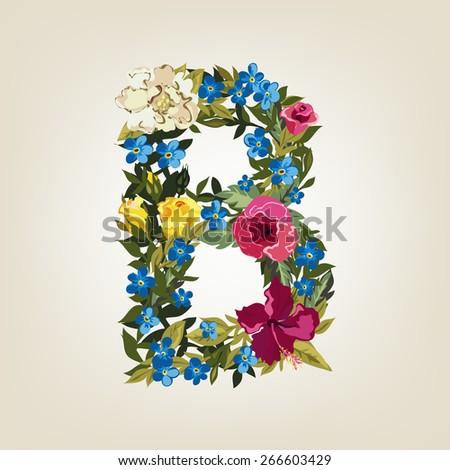 B letter. Flower capital alphabet. Colorful font. Uppercase.  Vector illustration. - stock vector