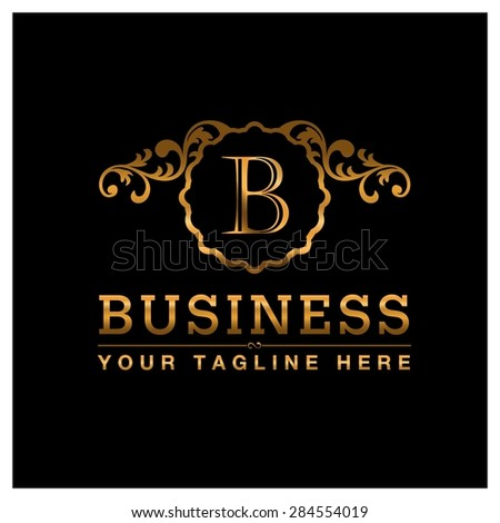 B letter Gold Luxury Logo template flourishes calligraphic elegant ornament lines. Business sign identity for Restaurant, Royalty, Cafe, Hotel, Heraldic, Jewelry, Fashion and other vector illustration