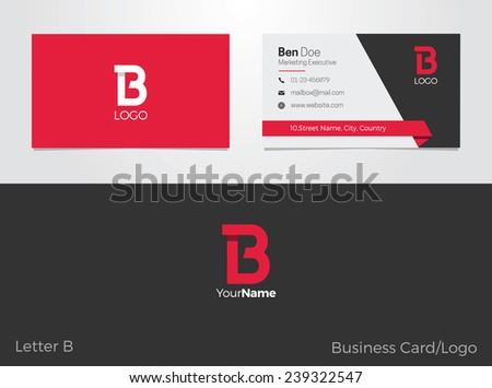 B letter logo business card em vetor stock 239322547 shutterstock b letter logo business card reheart Images