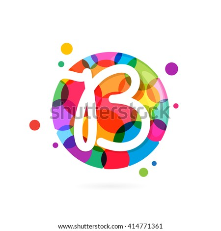 B letter logo in circle with rainbow dots. Font style, vector design template elements for your application or corporate identity. - stock vector