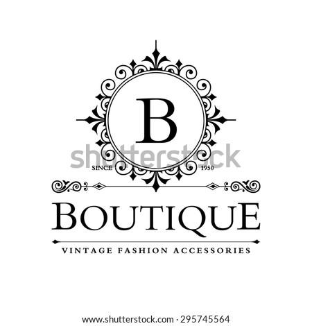 B Letter Logo Monogram Design Elements Stock Vector 295745564 ...