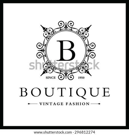 B Letter Logo Monogram Design Elements Stock Vector 296812274 ...