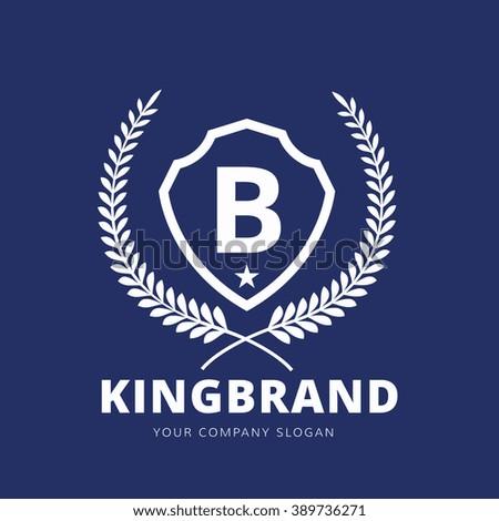 b letter luxury crest logo template stock vector 389736271