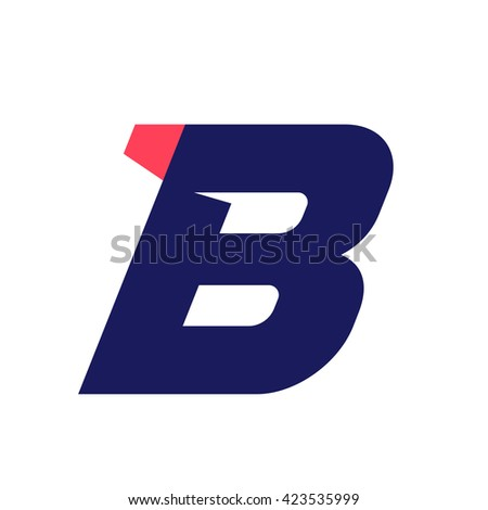 B letter run logo design template. Vector sport style typeface for sportswear, sports club, app icon, corporate identity, labels or posters. - stock vector