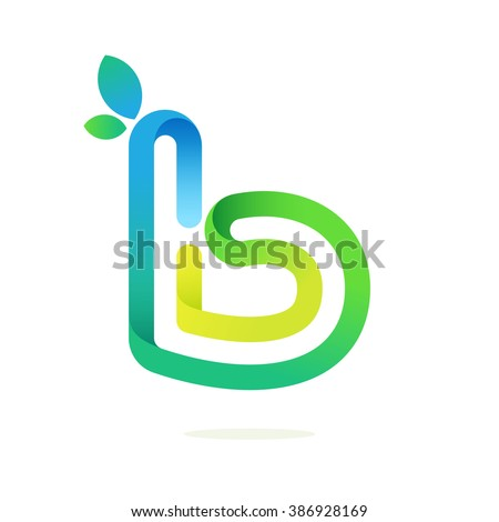 B letter with green leaves eco logo. Font style, vector design template elements for your application or corporate identity. - stock vector