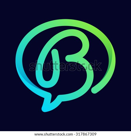 B letter with speech bubble line logo. Abstract trendy letter multicolored vector design template elements for your application or corporate identity. - stock vector