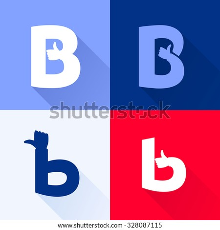 B letter with thumb up set. Vector logo design template elements for your application or corporate identity. - stock vector