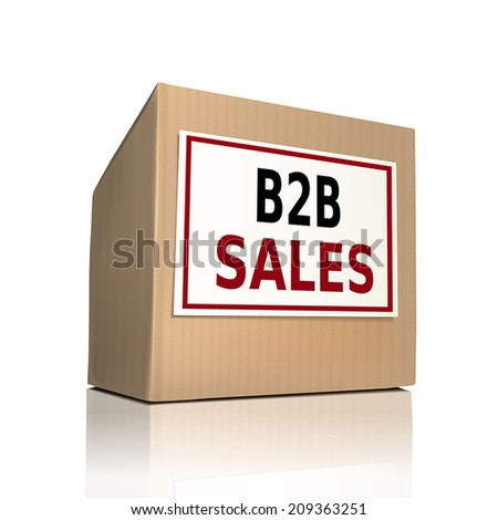 B to B sales on a paper box over white background - stock vector
