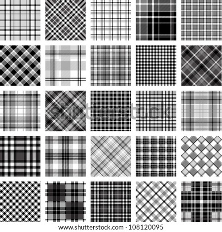 B&W big plaid pattern set - stock vector