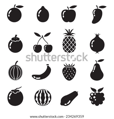 B&W Icons Set : Piece of Fruits