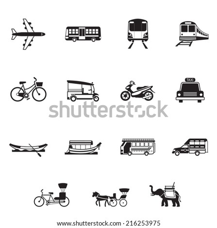 B&W icons set : Thailand Transportation, Trips & Travel - stock vector