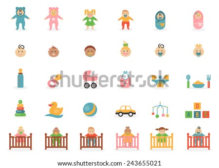Babe icons for greetings card. Set of web-element children and accessories. Vector illustration - stock vector