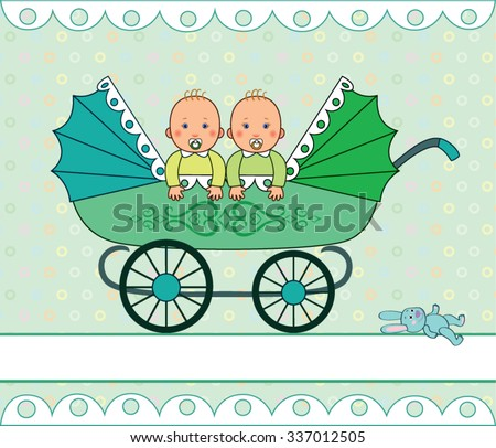 Babies boy and girl sitting in the stroller for twins, green stroller with lace pattern and big wheels, toy bunny near the carriage, cartoon vector - stock vector