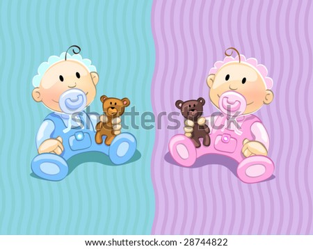 babies (editable layers) - stock vector