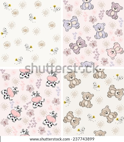 babies hand draw seamless pattern with animals - stock vector