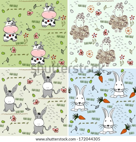 babies hand drawn pattern with animals