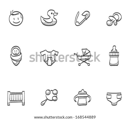 Babies icons in sketch. - stock vector