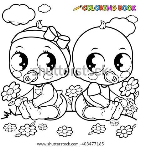 Babies playing outside coloring book page.