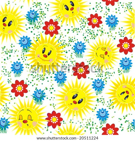 Baby abstract seamless with flowers and sun. Vector illustration of multicolored funky flowers and leaves on white background. - stock vector