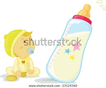 baby and bottle - stock vector