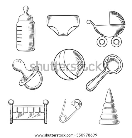 Baby and childhood sketched icons with a pram, ball, bottle, dummy or pacifier, crib, nappy, safety pin and toys. Sketch style illustration - stock vector