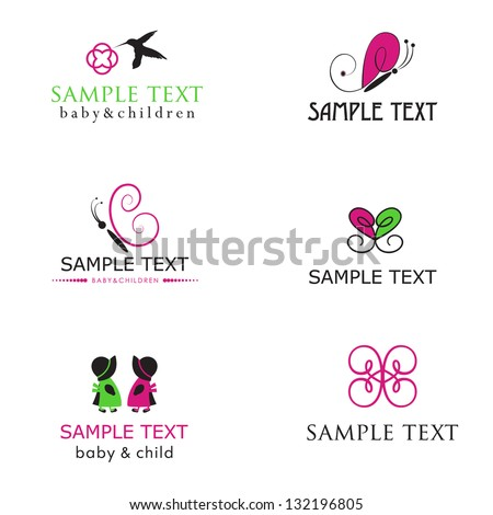 Baby and children icons in bright colors - stock vector