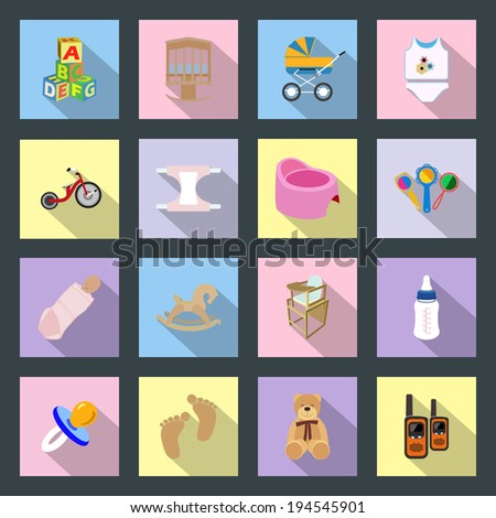 Baby and kids flat icons set - stock vector