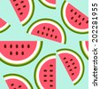 Baby and kids style abstract geometric background, cute seamless pattern with watermelon, wrapping paper, 50s, 60s, 70s fashion trendy fabric, simple ornament, template, layout for design - stock vector