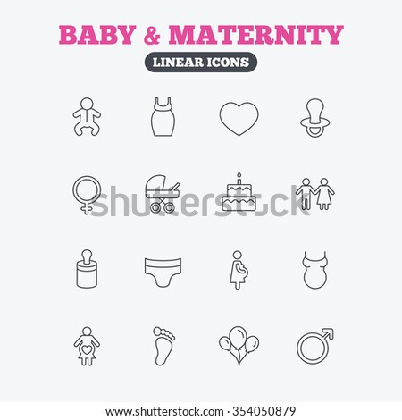 Baby and Maternity icons. Toddler, diapers and child footprint symbols. Heart, birthday cake and pacifier thin outline signs. Pregnant woman, couple and air balloons. Linear icons on white background. - stock vector