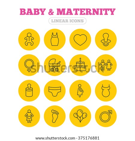 Baby and Maternity icons. Toddler, diapers and child footprint symbols. Heart, birthday cake and pacifier thin outline signs. Pregnant woman, couple and air balloons. Linear icons on yellow buttons. - stock vector