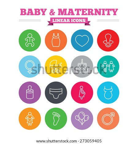 Baby and Maternity linear icons set. Toddler, diapers and child footprint symbols. Heart, birthday cake and pacifier thin outline signs. Pregnant woman, couple and air balloons. Flat circles vector - stock vector