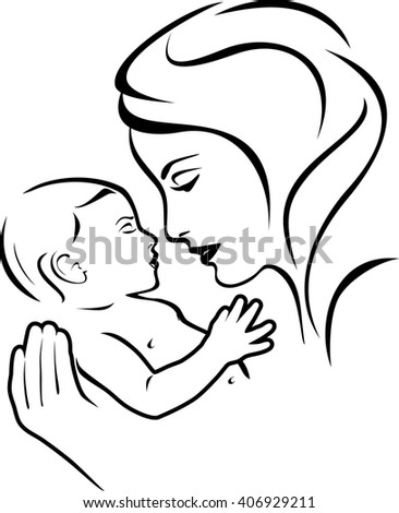 stock-vector-baby-and-mother-black-and-w