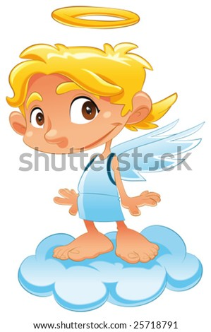 Baby Angel. Funny cartoon and vector isolated character
