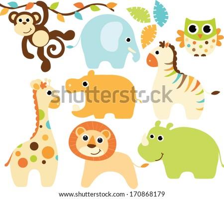 Baby Animals (Boy) - stock vector
