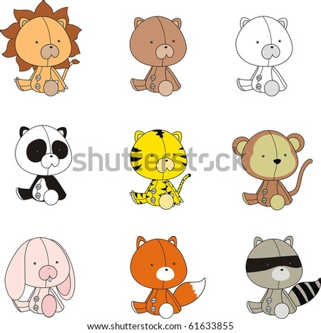 baby animals set in vector format - stock vector