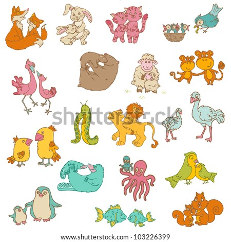 Baby Animals with Moms - for your design and scrapbook - hand drawn in vector