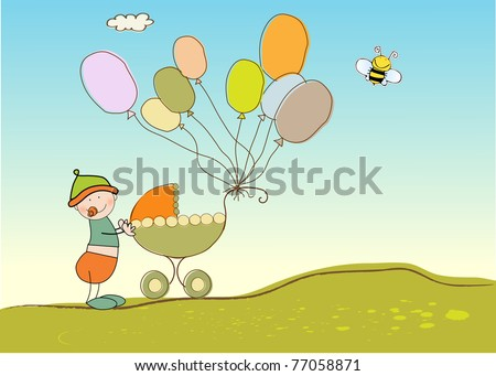 baby anniversary card - stock vector