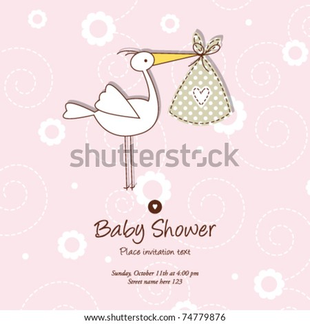 Baby announcement card - stock vector