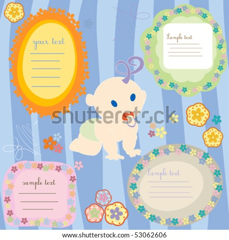 Baby announcement text cards, design elements