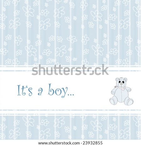 Baby announcement with cute teddy for boy-vector - stock vector