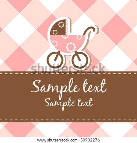 Baby arrival announcement card - stock vector