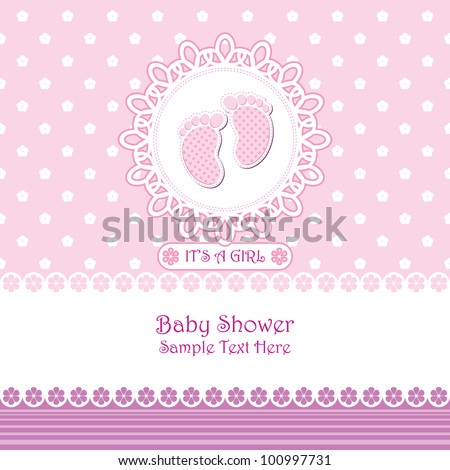 baby arrival announcement card baby girl stock vector royalty free