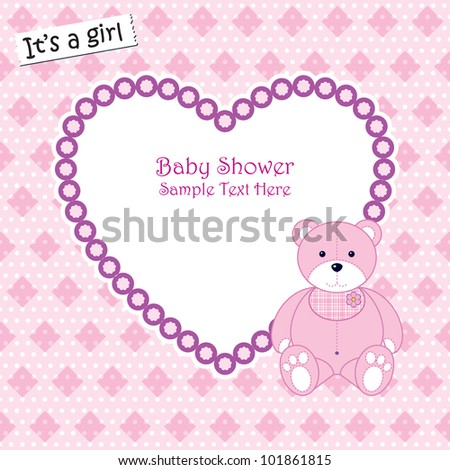 Baby arrival announcement card / Baby girl shower card - stock vector