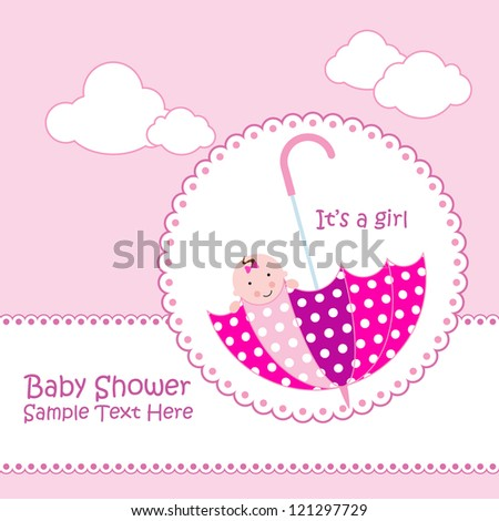 Baby arrival announcement card / Baby girl shower card / baby card  ( baby and umbrella design ) - stock vector