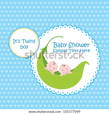 Baby arrival announcement card / Twin baby boy shower card - stock vector