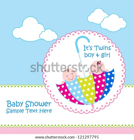Baby arrival announcement card / Twin baby girl shower card / baby card ( baby and umbrella design )